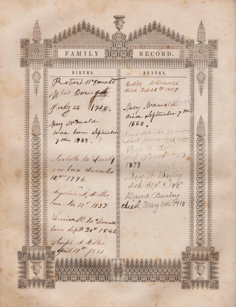 BR- Robert McDonald BIBLE, Family Record Page1