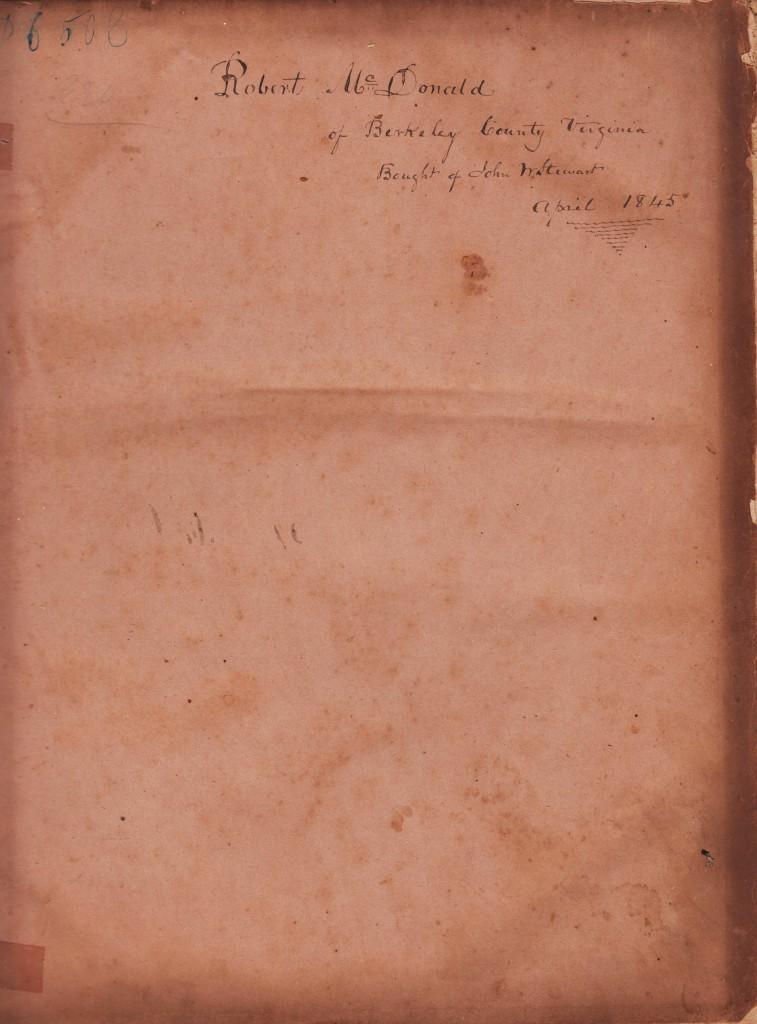 BR- Robert McDonald (1784-1859) Family Bible, Front Inside, Berkeley County, (West) Virginia, April 1845
