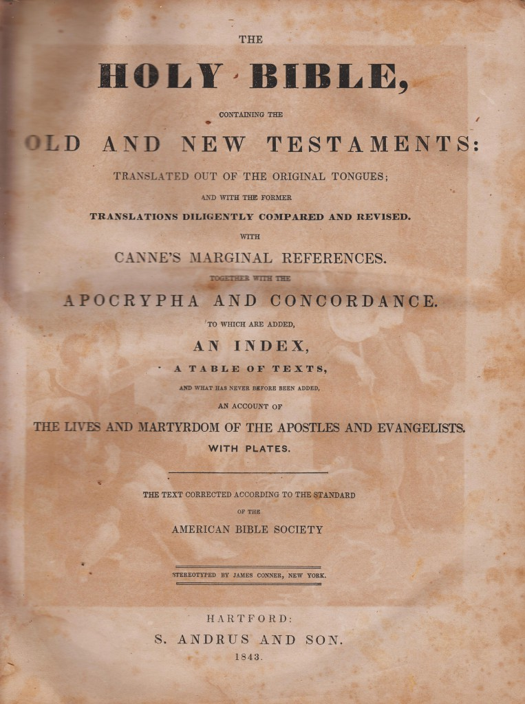 Robert McDonald Family Bible, Front Title Page, published 1843