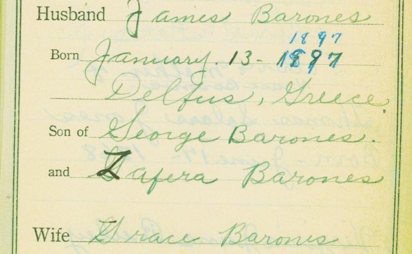 BR2- Family Bible Register of James Barones & Grace (Jones), pg 1