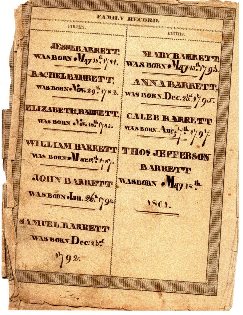 JESSE BARRETT RACHEL BARRETT ELIZABETH BARRETT WILLIAM BARRETT JOHN BARRETT SAMUEL BARRETT  MARY BARRETT ANNA BARRETT CALEB BARRETT THOS. JEFFERSON        BARRETT