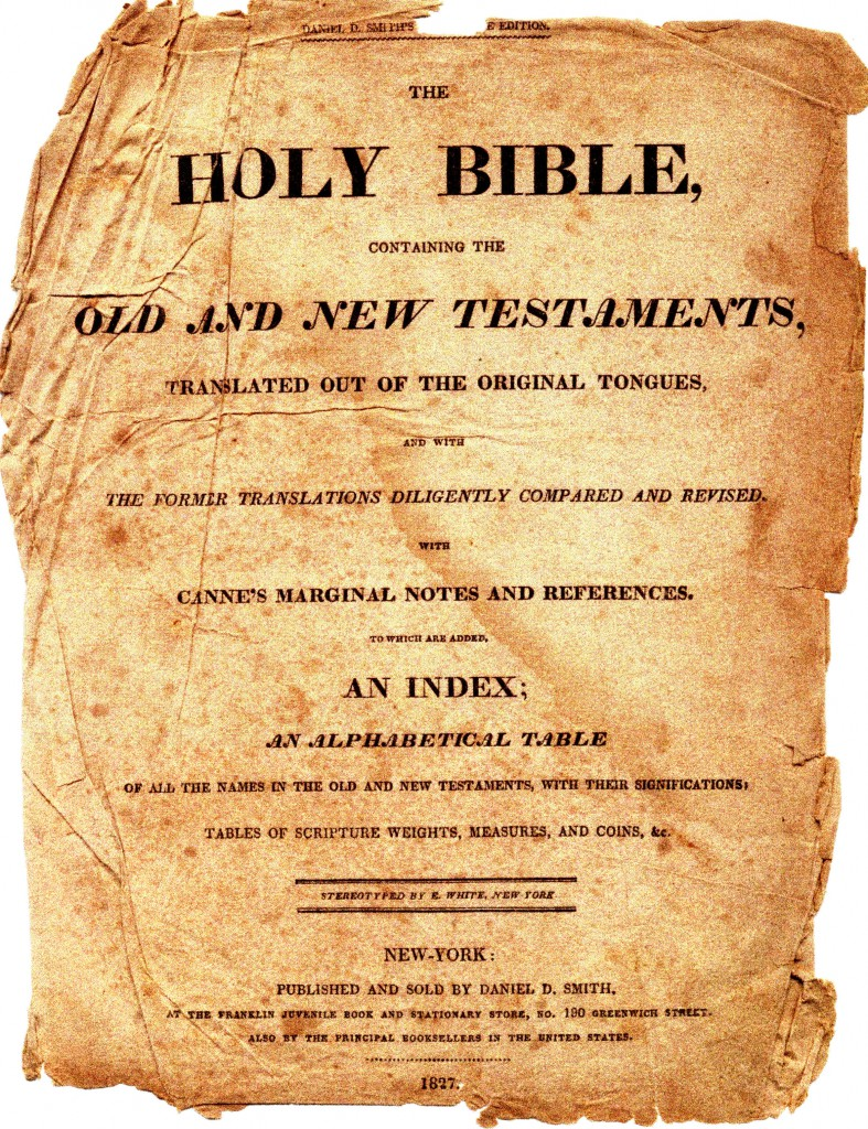 Samuel C. Barrett Sr (1758-1838) family Bible, Title Page, The HOLY BIBLE Containing The OLD AND NEW TESTAMENTS, printed in New York, 1827