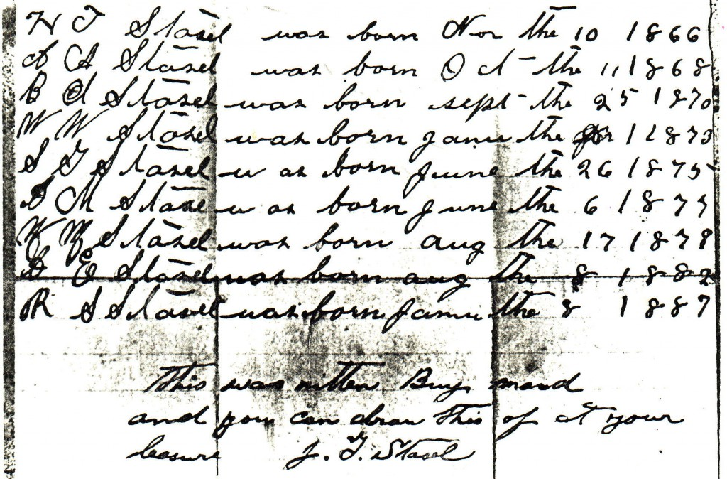 DOC8- Henry Waldeck Moneypenny (1826-1904), Hart Co., KY, Bible note2 - Stasel family