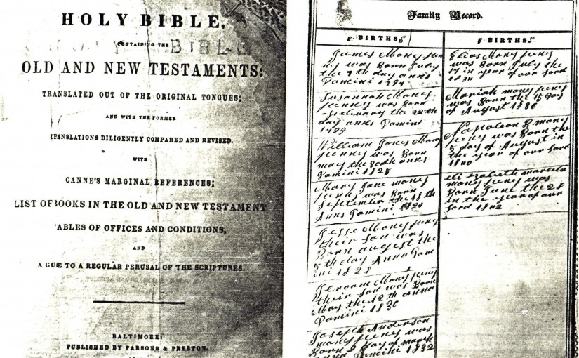 DOC8- James Moneypenny (1797-1881) Family Bible1- Title Page & Births