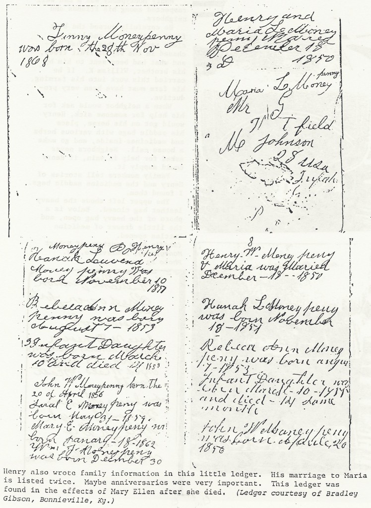 BR8- Henry Waldeck Moneypenny (1826-1904) & wife Maria Louise (Bolton) (1829-1908) Family Ledger Page- Births & Marriages, Hart Co., KY (Moneypenny Family, pg. 111)