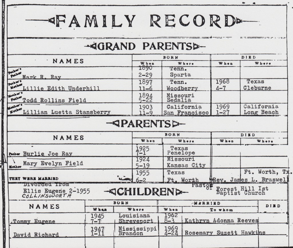 BR10- Mulkey & Reid Family Bible record, page 6